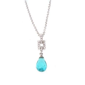 Blue Tear Shaped Pendant with Chain