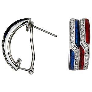 FREE SHIPPING PATRIOTIC  Red,White,Blue EARRINGS
