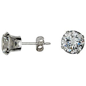 FREE SHIPPING Round CZ Clear Earrings