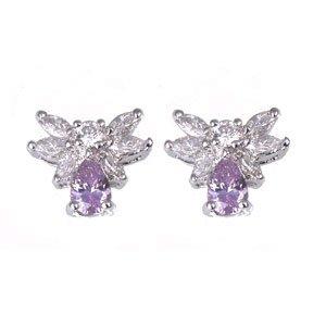 FREE SHIPPING Purple & Clear Angel Earrings
