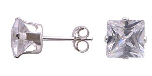 FREE SHIPPING!!  Elegant Clear Princess Cut Stud Earrings .925