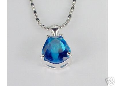14K W GOLD CRYSTAL PENDANT - 5ct Blue Sapphire Pear