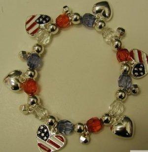 FREE SHIPPING !! American Flag Charm Bracelet...Heart Design