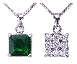 May Birthday Green Square Emerald CZ Pendant