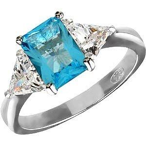 MARCH BIRTHSTONE Ladies CZ AquaMarine Ring Size 6