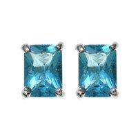MARCH BIRTHSTONE Emerald Cut Aquamarine Stud Earrings