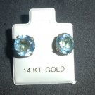 Sparkling 8 mm Light Blue CZ Earrings