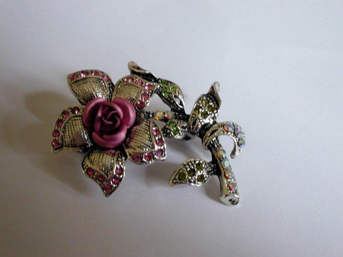 Pink Crystal Rose Flower Pin