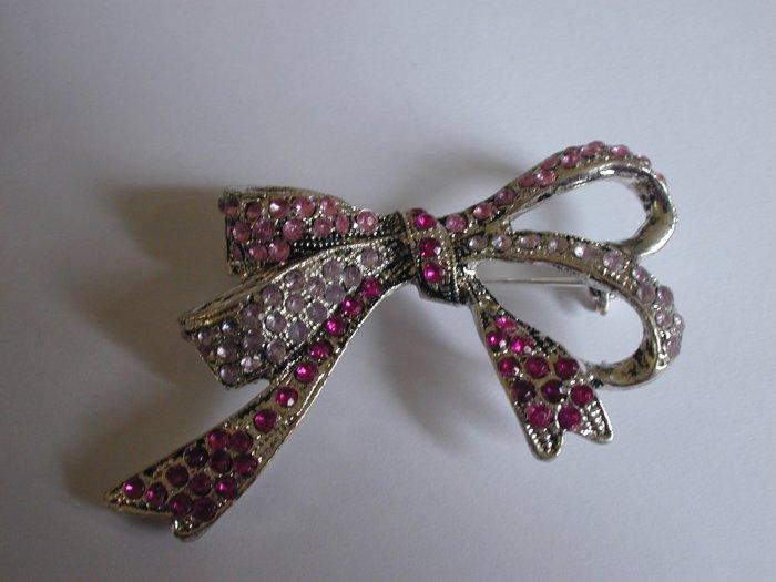 Pink Bow Crystal Pin