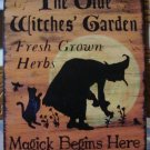Garden Witch Sign Herbs Witchcraft Apothecary Fairies Pixies Halloween Decorations Wiccan black cats