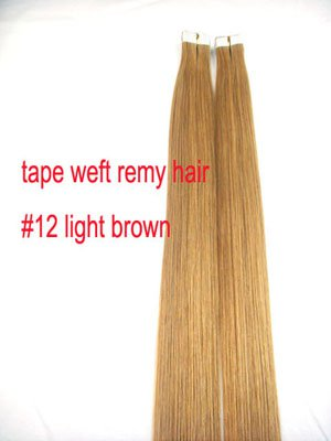 Tape in #12 Lightest Brown 20 pieces Remy human hair extensions 50 grams 20&quot;