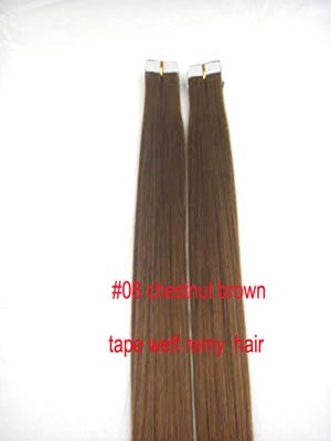 Adhesive Tape hair #8 Chestnut Brown 20 pcs Premium Remy human hair extensions 50 grams 18""