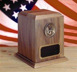 Solid Walnut Military Spec URN -  Great Seal Of America Emblem