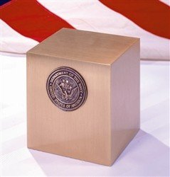 Bronze Military Spec URN -  Marine Corps Emblem
