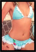Gingham Bikini w/ Cherry & Lace