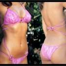 Pink Lace Monokini w/ Heart Accents