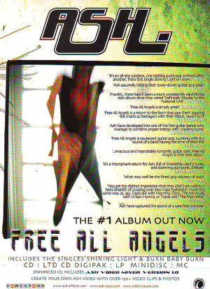 Ash - Free All Angels rare vintage advert 2001