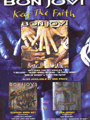 Bon jovi - Keep The Faith - rare vintage advert 1992