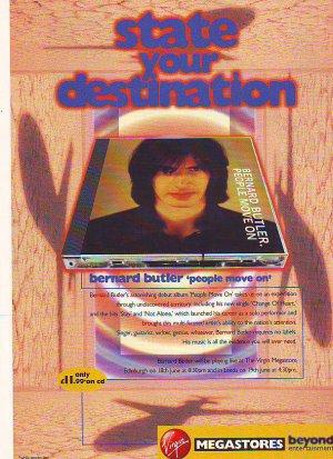 Bernard Butler - People Move On / Virgin - rare vintage advert 1998