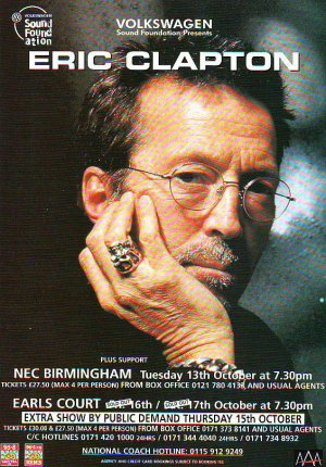 Eric Clapton - UK Tour - rare vintage advert 1998