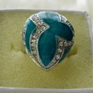 Turquoise stone decorated with rhinestones ring