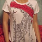 T-shirt with lady in scarf
