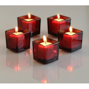 SQUARE RED VOTIVE CANDLE HOLDER
