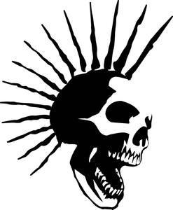 PUNK SKULL SPIKE MOHAWK Vinyl Decal Sticker