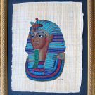 Framed Egyptian Papyrus Painting - King Tut&#39;s Mask