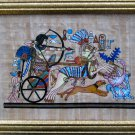 Framed Egyptian Papyrus painting -THE ROYAL CHARIOT