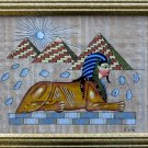 Framed Egyptian Papyrus - &quot;THE PYRAMIDS OF GIZA&quot;