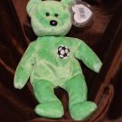 Ty Beanie Babie Light Green Bear Kicks Soccer Emblem World Cup Bear