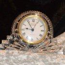 Crystal Legends Quartz 24% lead Crystal Mantel Clock Fresh Battery Mint
