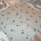 White Knit Fabric w Green Cherrie and red Stems with green Polka dots Ma