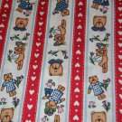 Adorable 1 yd + Hearts Angel Bears Stripe Red Blue Cotton Blend Faric Material