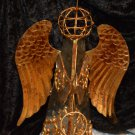 Copper or Gold Tone Painted Angel in Clear Glass Shape Horn Playing Angel