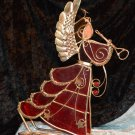 Red & Gold Tone Horn Playing Stained Glass Angel with Candle Votive Stand