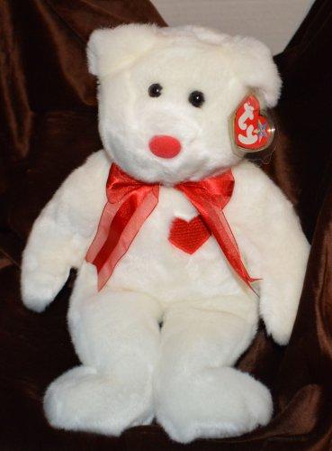 "Ty Beanie Buddy Buddie White Bear Valentino - 15"" Bear Red Heart"