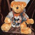 DanDee Light Brown Teddy Bear Plaid Jacket Plush