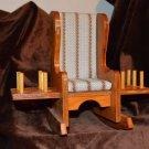 Wood Rocking Chair Pin Cushion Thread & Scissor Holder Caddy