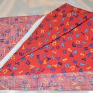Alphabet ABC Letters Blue Yellow on RED background Cotton Fabric Material