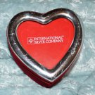 Silver Plate and Red Velvet Heart Mini Travel Jewelry Box
