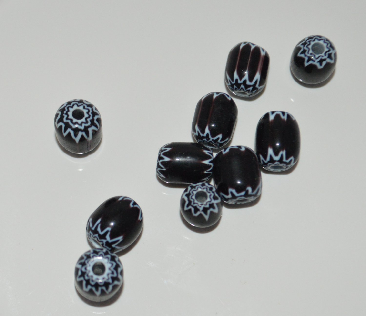 10 Stylish Black and White Handcrafted Glass Beads 10.5 MM x 9MM