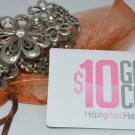 Super Fun Silver Tone Metal Flower with Crystal Stretch Bracelet