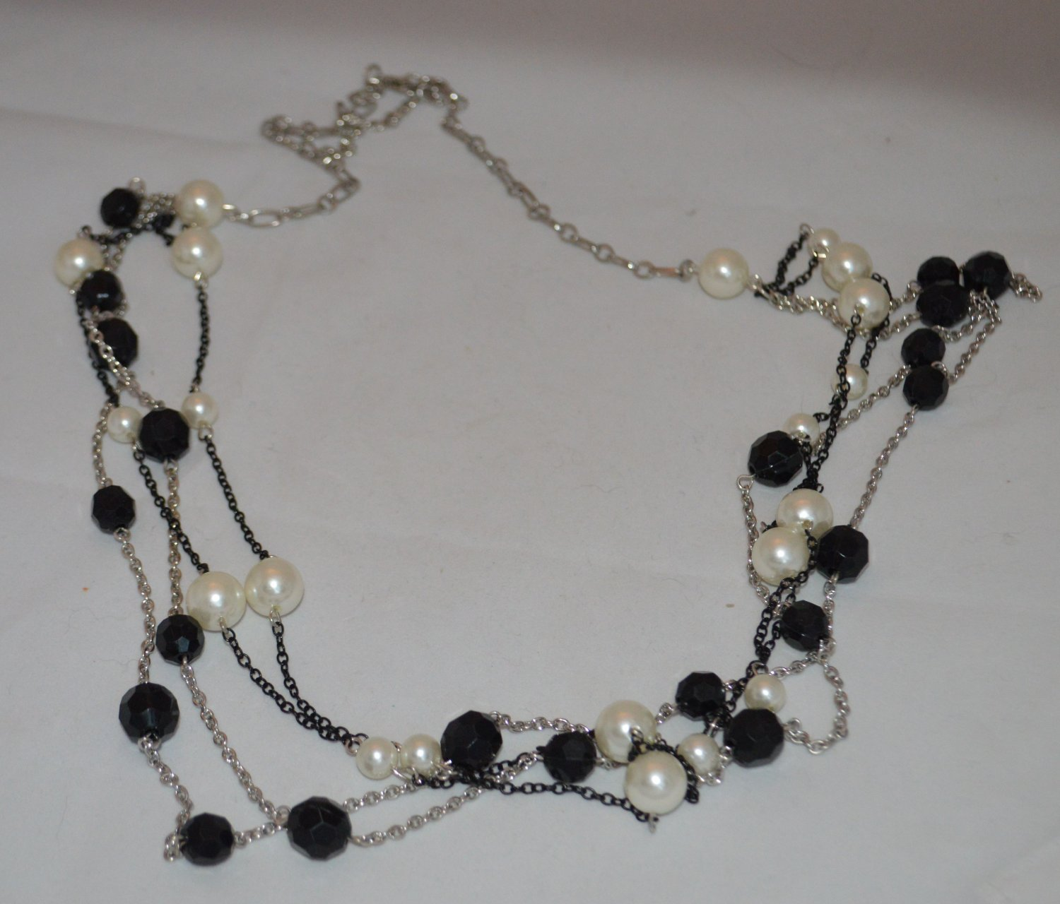 Pearl White & Black Beaded - Silver & Black chained  Layered Necklace