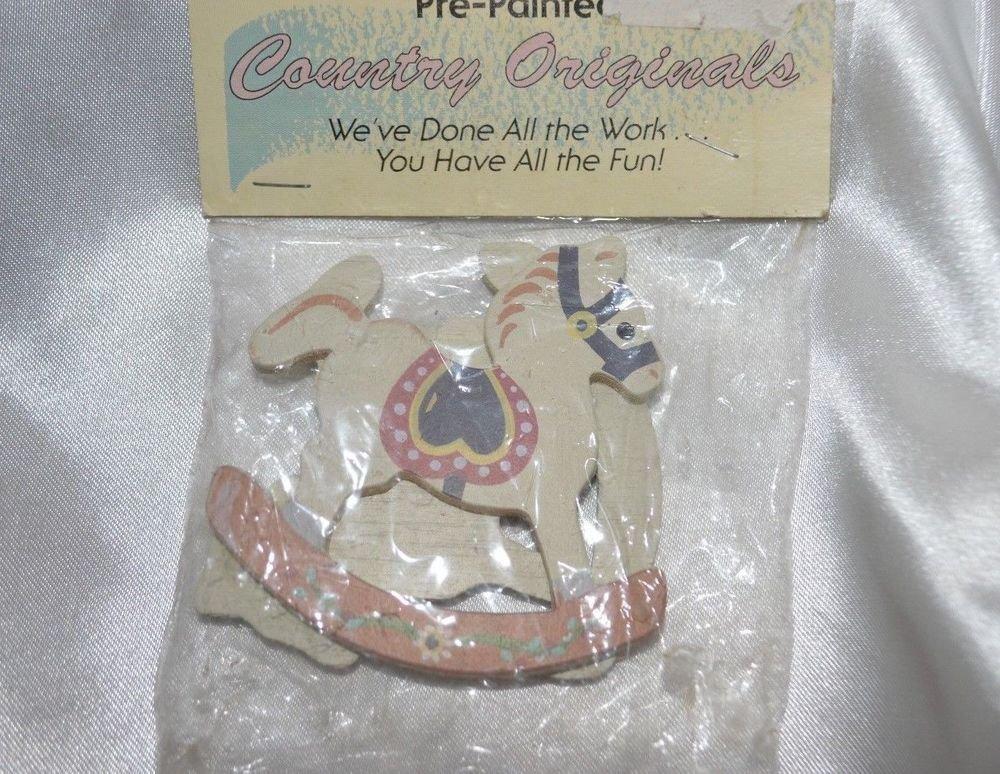 "Country Original Pre-Painted 2.5"" x 3""  2 Rocking Horses Craft Miniature"