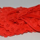 "Brilliant Red Polyester Blend Lacey Trim to Sew 180"""" x 3/4"""