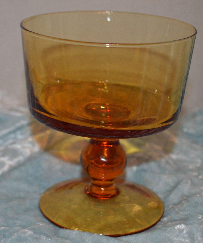 Vintage Amber Short Sherbet Goblet Cordial Wine Glass