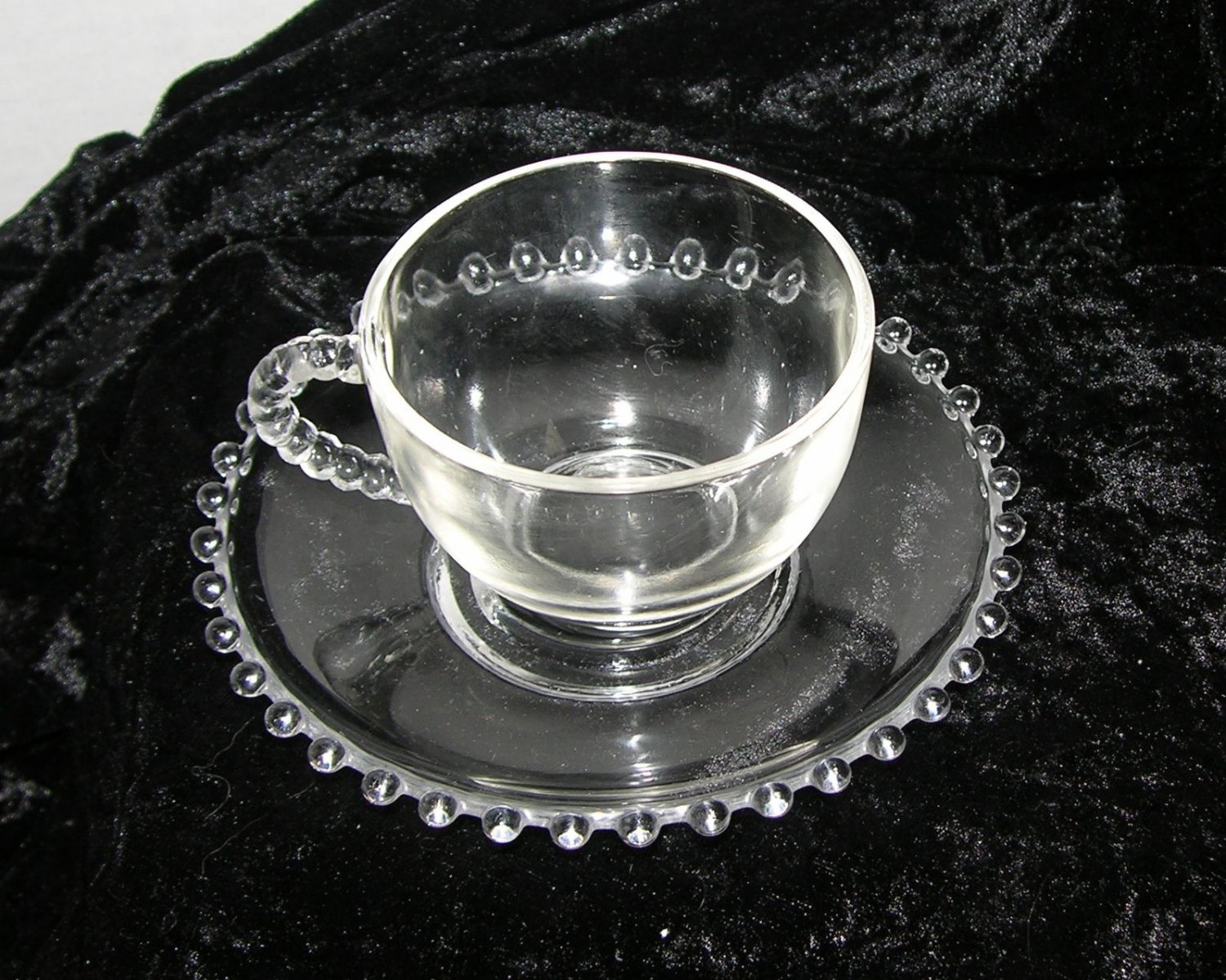 Anchor Heisey Berwick Boopie Ball Beaded Candlewick  Cup and Saucer set