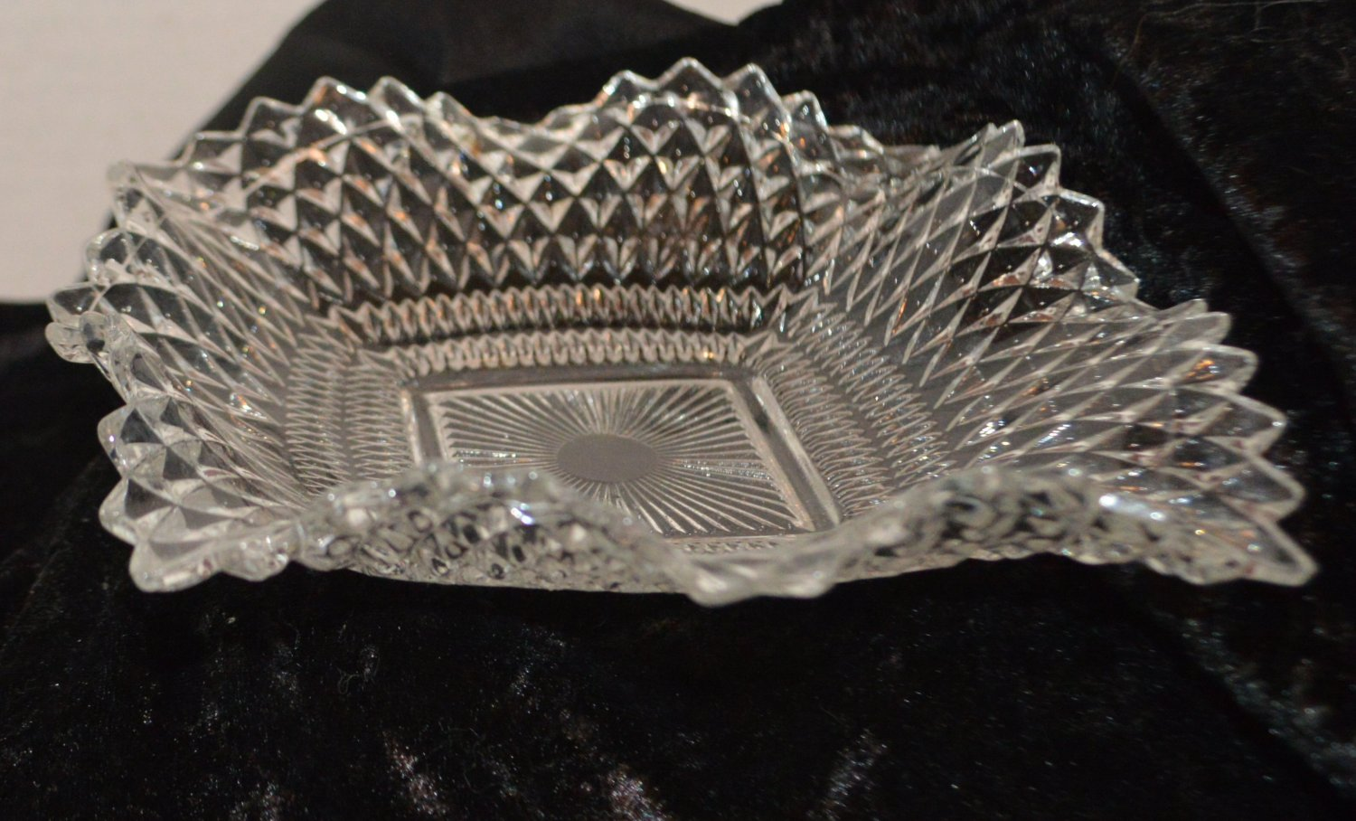 Indiana Clear Glass Diamond Point Square Ruffled Candy Nut Snack Dish Trinket
